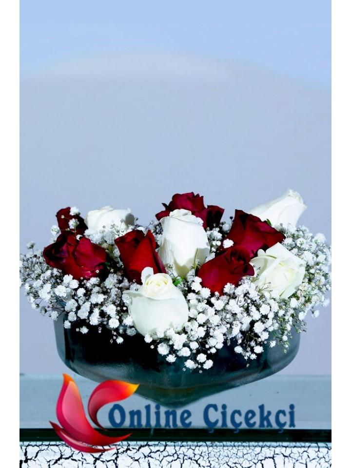 Kalp Mikada Kırmızı, Beyaz Güller